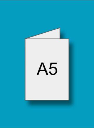 A5 (148 x 210 mm) pliat din A4 (210 x 297 mm)
